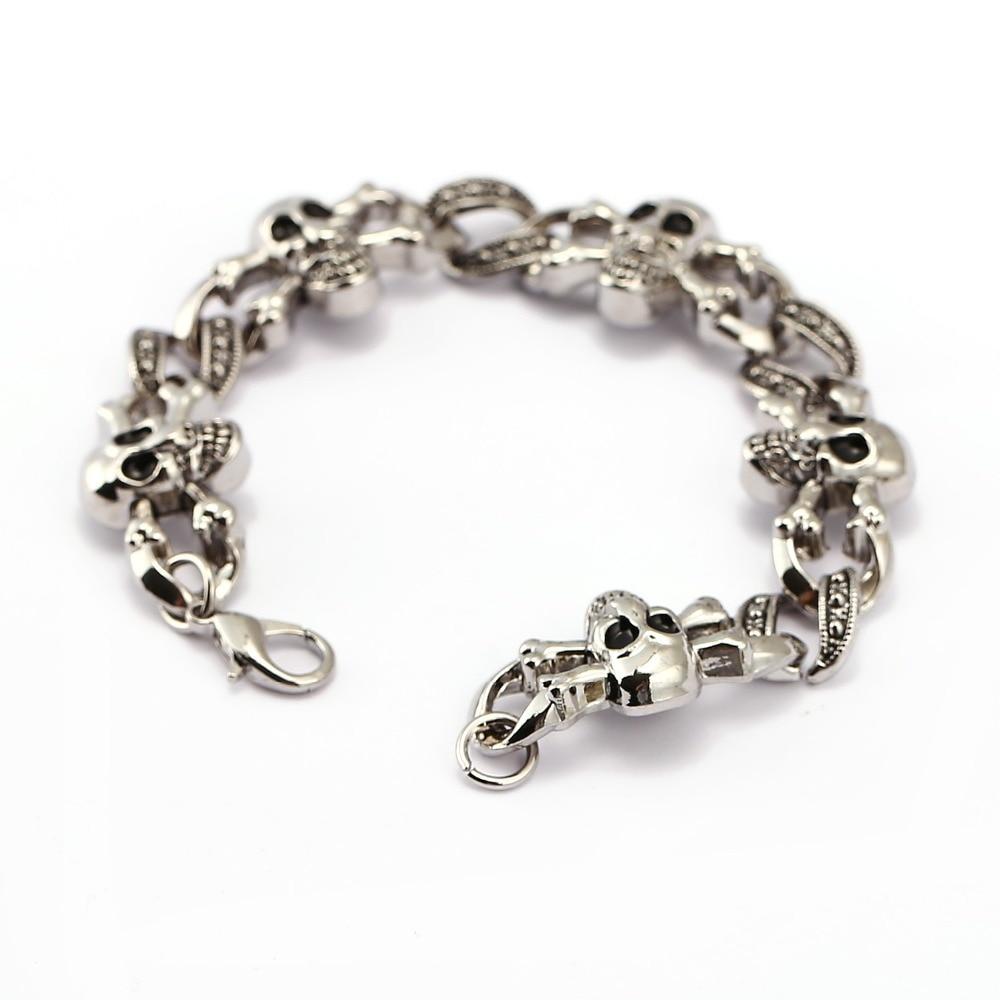 Fashion Punk Skull metal Charm bracelet for man DIY Bracelets & Bangles Charms Bracelets Men Pulseira Jewelry Gift Punk