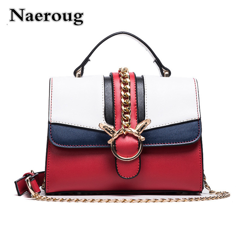Luxury Brand Women Handbags Colorful Striped Messenger Bags Casual Tote Bag Famous Designer Locks Chain Shoulder Bags Sac A Main giaevvi luxury handbags split leather tote women messenger bags 2017 brand design chain women shoulder bag crossbody for girls