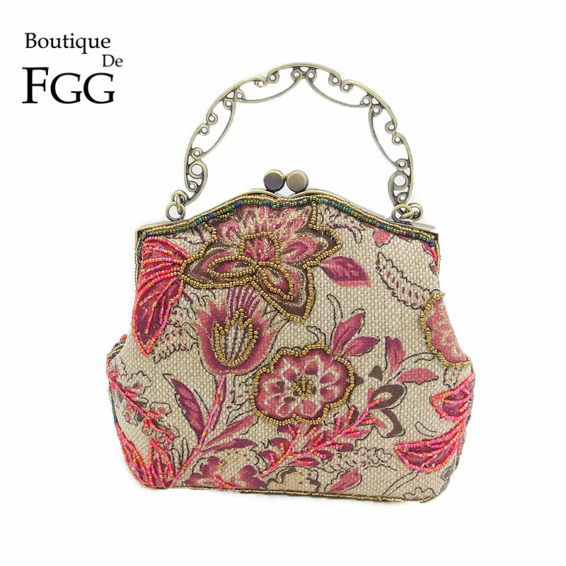 Chinese Style Women Red Floral Embroidery Beaded Purse Handbag Clutch Bridal Wedding Party Cocktail Frame Metal Clutches Bag