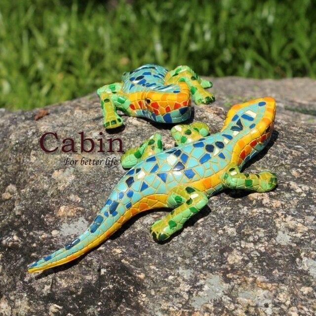 8 handmade mosaic lizard colorful resin animal craft vintage
