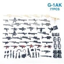 77 sztuk broń pakiet pistolet wojskowy PUBG akcesoria Mini żołnierze rysunek Playmobil klocki do budowy cegły edukacyjne dzieci zabawka dla dzieci