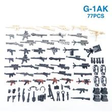 77PCS נשק חבילת אקדח צבאי PUBG אביזרי מיני חיילי דמות פליימוביל בניין בלוק לבנים חינוכי ילדי קיד צעצוע