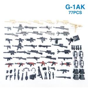 Image 1 - 77PCS Waffe Pack Gun Military PUBG Zubehör Mini Soldaten Figur Playmobil Baustein Ziegel Pädagogisches Kinder Kid Spielzeug