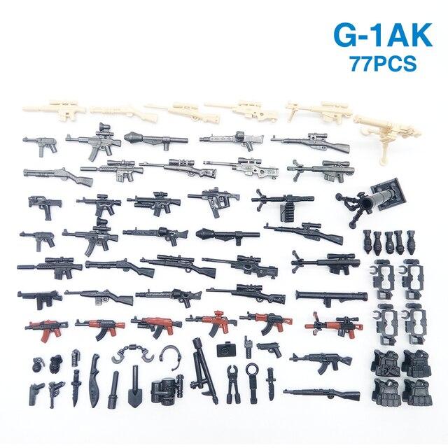77PCS Waffe Pack Gun Military PUBG Zubehör Mini Soldaten Figur Playmobil Baustein Ziegel Pädagogisches Kinder Kid Spielzeug