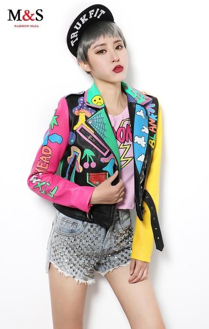 Melinda estilo 2016 mulheres moda impressão jaqueta PU casaco outwear frete grátis