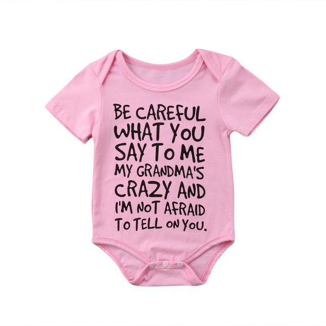 fb118be28 Infant Baby Girls Boys Romper Funny Letter Jumpsuit Outfits Sunsuit ...