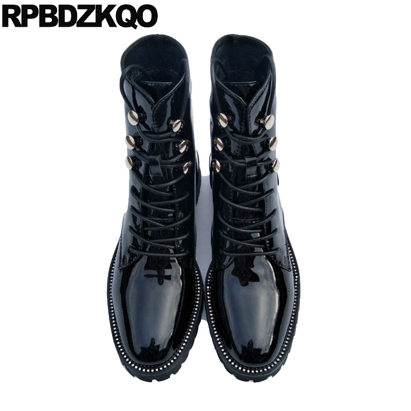 Boots Ankle High Quality Flat Designer Shoes Women Luxury 2017 Autumn Military Genuine Leather Combat Black Fall Patent Lace Up