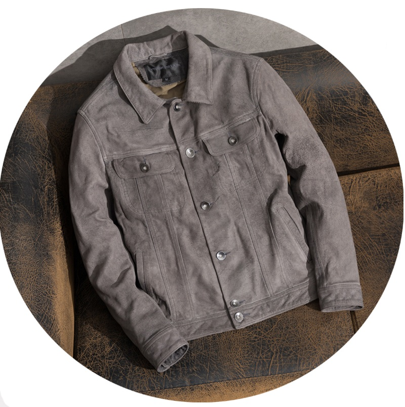 Free Shipping,Brand Frosted Cowhide Coat,man's 100% Genuine Leather Jacket,classic Vintage Gray Clothes.quality Casual Clothing