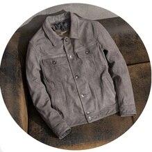 Il trasporto libero, Marca pelle bovina Glassato cappotto, s uomo 100% genuino Giacca di pelle, classic vintage vestiti di grigio. qualità abbigliamento casual