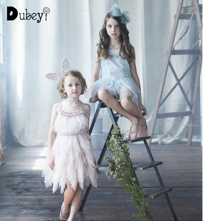 Baby Girls Feather Tutu Du Dress Children Girls Fashion Beading Sequins Sling Dress Kids Tulle Party