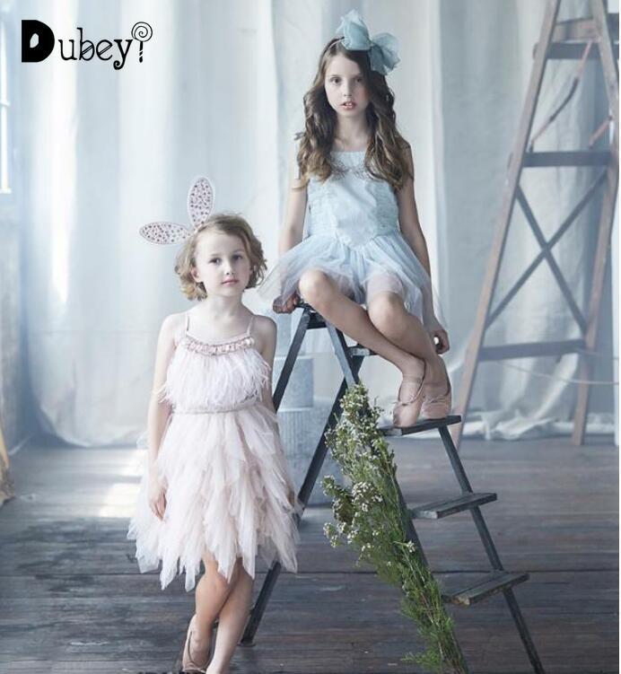 Baby Girls Feather Tutu Du Dress Children Girls Fashion Beading Sequins Sling Dress Kids Tulle Party Evening Dress