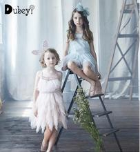 Baby Girls Feather Tutu Du Dress Children Fashion Beading Sequins Sling Kids Tulle Party Evening