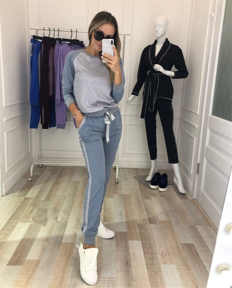 2018 New Limited Polyester Blends Full O-neck Autumn Woman Suit Color Matching Long Sleeve Casual 2 Piece Female Women Sport