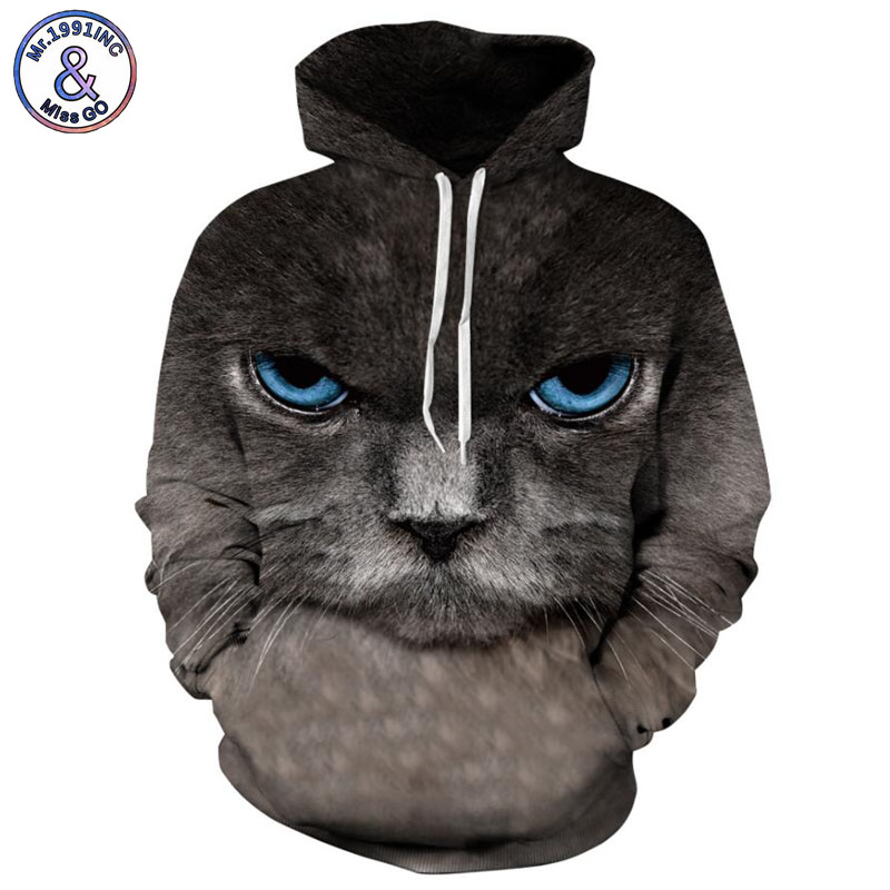 Mr.1991INC Europe and America Hot black Cat 3d Sweatshirts Men/women hoodie sweatshirt Casual Hooded Pullovers Men Hoodies M078