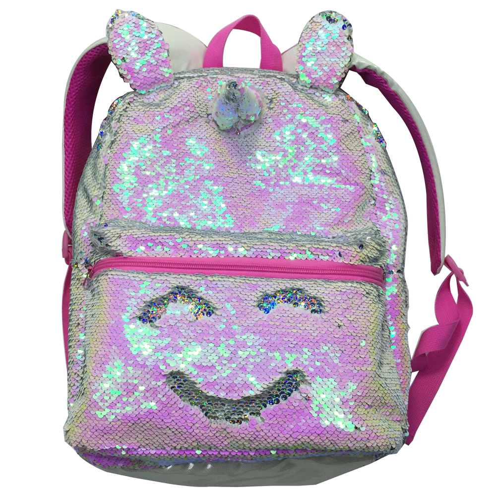 1068a5a5dd81 16 Inches Magic Unicorn Sequin Backpack Pink Colorful Rainbow Casual ...