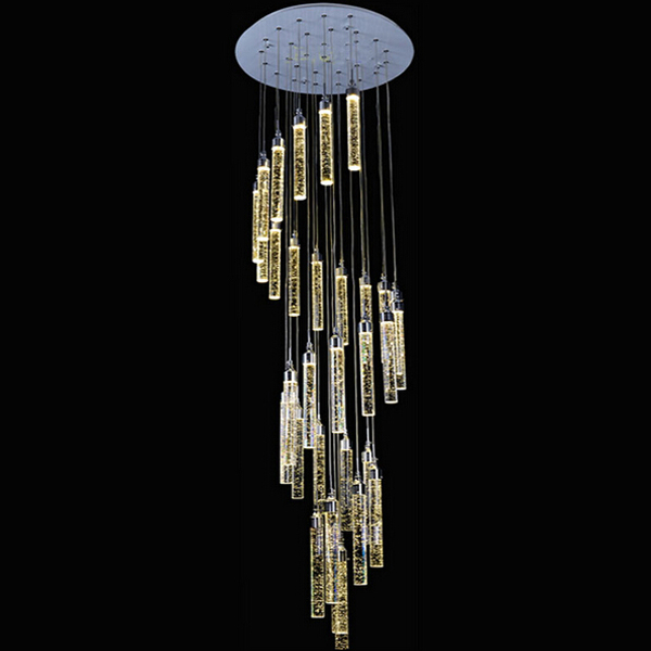 modern Double staircase lamp long chandelier bubble crystal column living room LED villa spiral fishing line lighting fixture