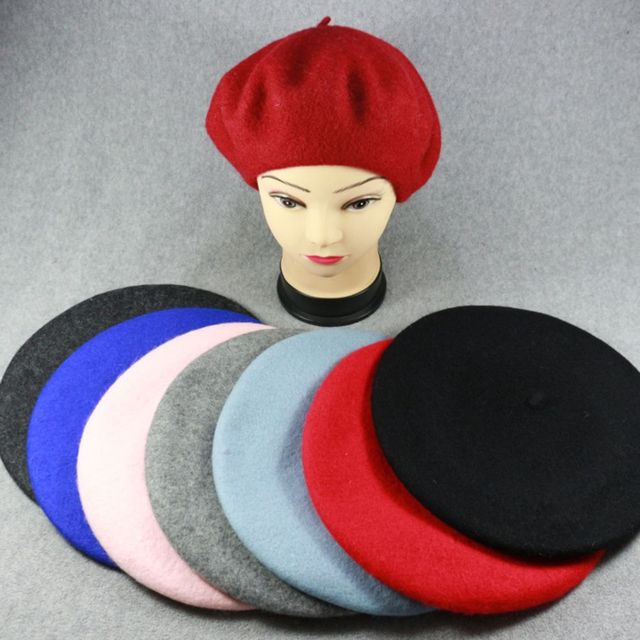 1PC Fashion Sweet Winter Wool Blend Beret Warm Women Felt French Beret  Beanie Solid Color Berets Hat Casual Headwear for Girls 48a3712f3f44