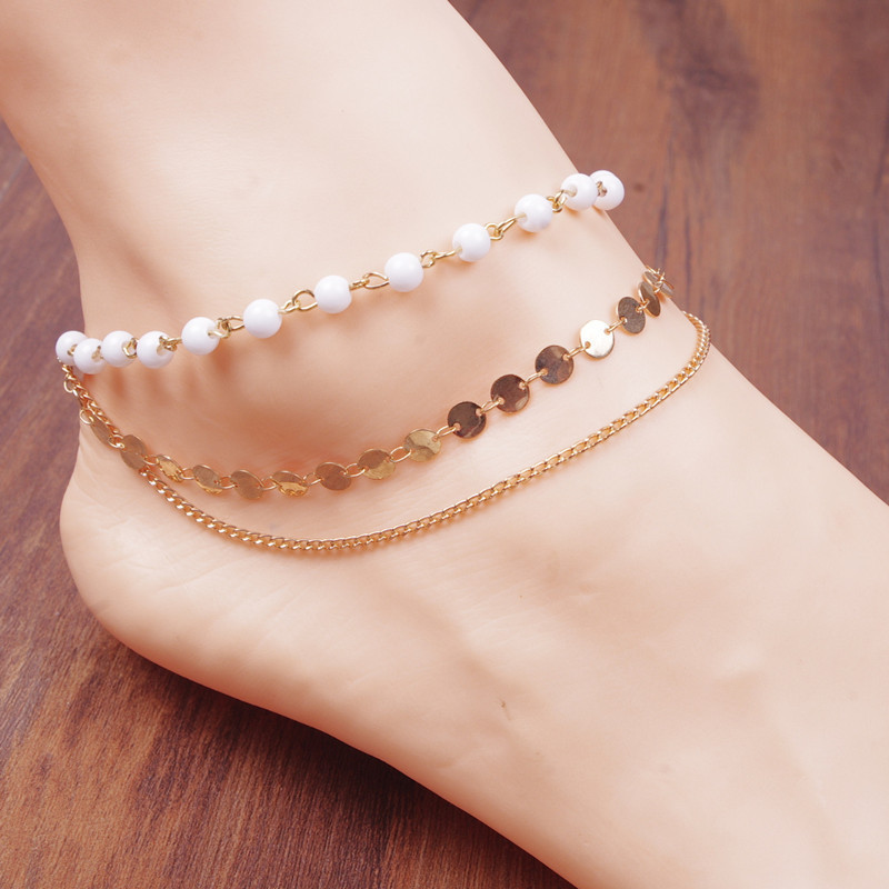 Anklet for women fashion anklets nude beach a few feet of chain tassel sequins anklet barefoot sandals image