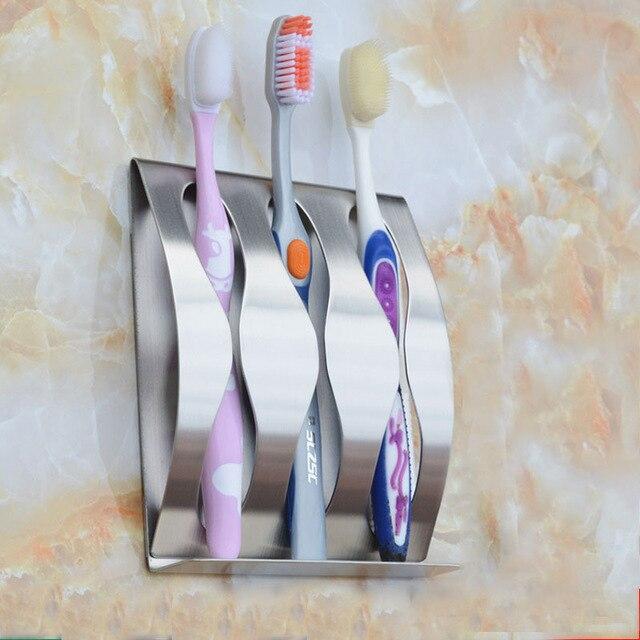 1 pz In Acciaio Inox Famiglia Spazzolino Da Denti Titolare 2,3 Fori Autoadesivo