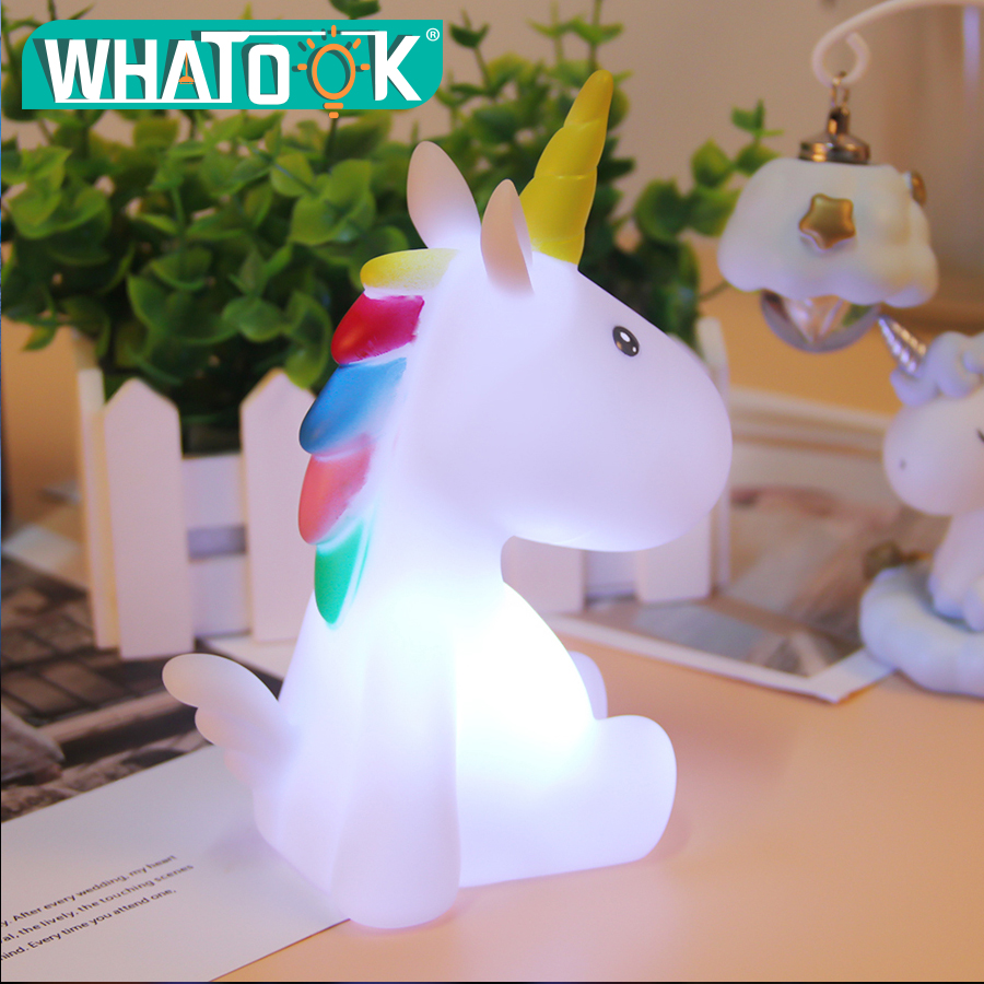 Baby Night Light LED Unicornion Lamp Rabbit Flamingo Marquee Sign 3D Mood Lights Children Kids Gifts Bedroom Decor Night Lamps