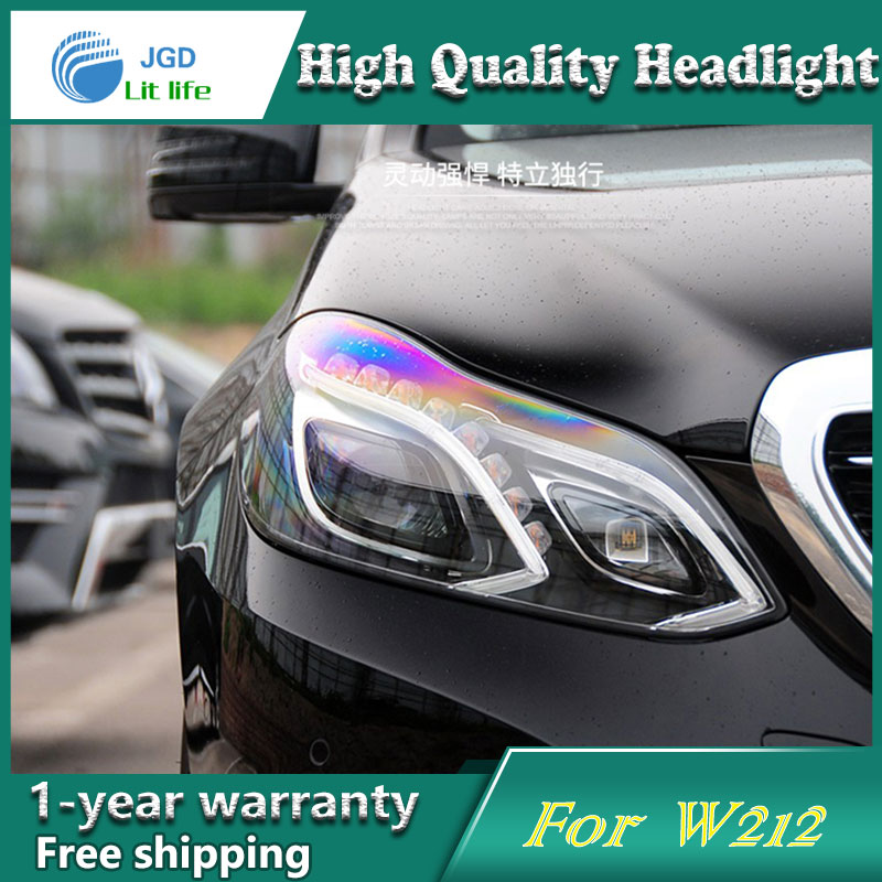 Car Styling Head Lamp case for Benz E180 E200 E260 W212 Headlights LED Headlight DRL Lens Double Beam Bi-Xenon HID Accessories купить в Москве 2019