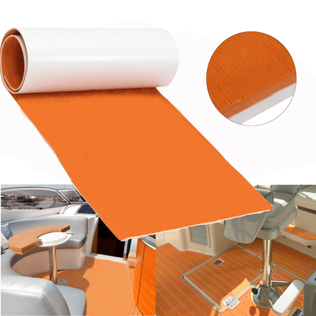 60CMx200CM 6mm Self Adhesive DIY EVA Foam teak Marine Flooring Boat Decking Teak Sheet Yacht Floor Pad Foam Floor Mat Orange