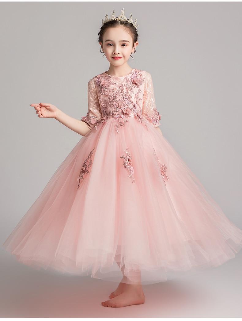 US $12.12 12% OFFAppliques Tüll Mädchen Party Kleid Blume Mädchen Kleider  Für Hochzeit Lange Kinder Pageant Prinzessin Kostüm Erstkommunion