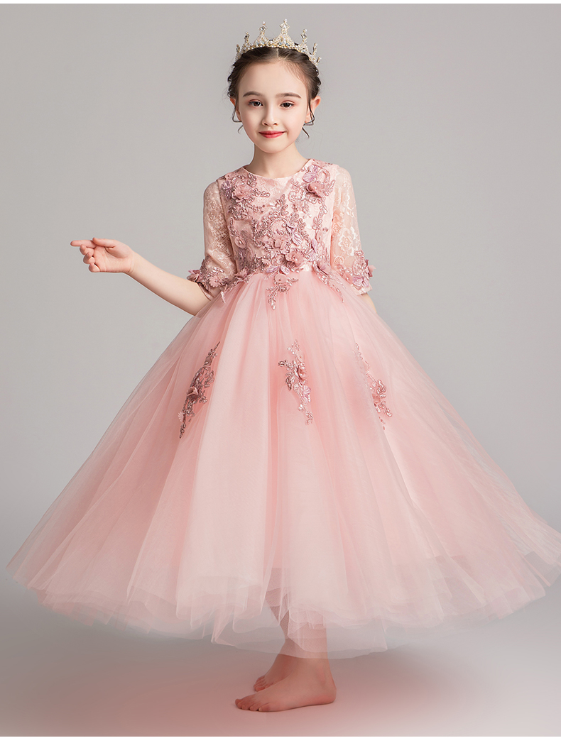 Appliques Tulle   Girls   Party   Dress     Flower     Girl     Dresses   For Wedding Long Kids Pageant Princess Costume First Communion Gowns