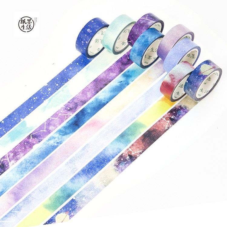 1.5cm*7m Starry Star Washi Tape Set Rainbow Sky Masking Tapes 15mm*7m Decoration Tape Scrapbooking Diary Sticker Stationery
