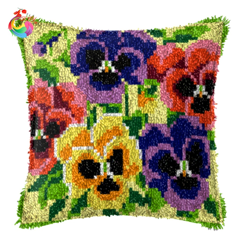 Unfinished Yarn Embroidery Set Pillowcase Latch Hook Cushion Kits Gift Diy  Needlework Crocheting Throw Pillow Violets