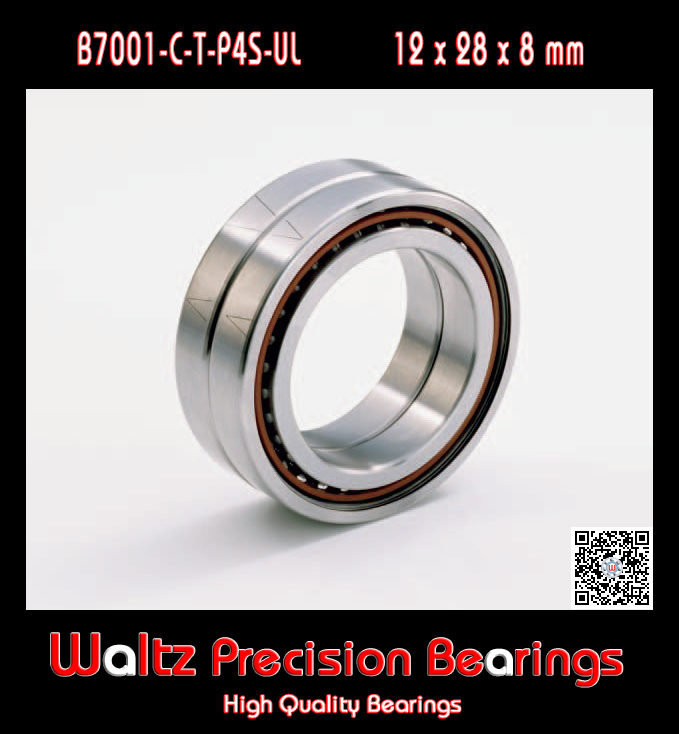 Bearings B7001-C-T-P4S 7001 7001C 36101 46101 P4 ABEC 7 Spindle bearings are single row angular contact ball bearings 1pcs 71822 71822cd p4 7822 110x140x16 mochu thin walled miniature angular contact bearings speed spindle bearings cnc abec 7