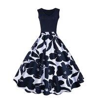 2018 Spring Fashion Vintage A Vita Alta Floreale Polka Dots Stampato Grande Swing Abito Senza Maniche Casual Elegante Partito Abiti Femminili