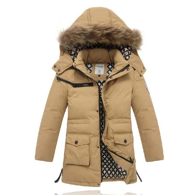Muchacho de los niños abajo chaqueta grande virgen Niños big boy abajo chaqueta y largas secciones capa más gruesa genuina