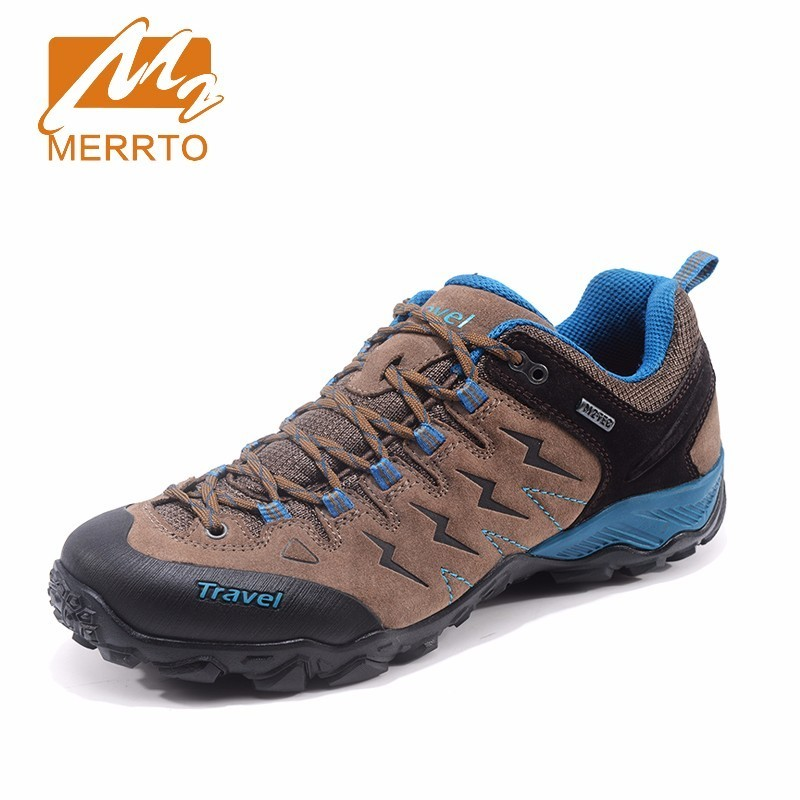 MERRTO 2017 Autumn Trekking Shoes for Men Hiking Shoes Quality Leather Mountain Outdoor Shoes Breathable Climbing Shoes#MT18681 humtto new hiking shoes men outdoor mountain climbing trekking shoes fur strong grip rubber sole male sneakers plus size