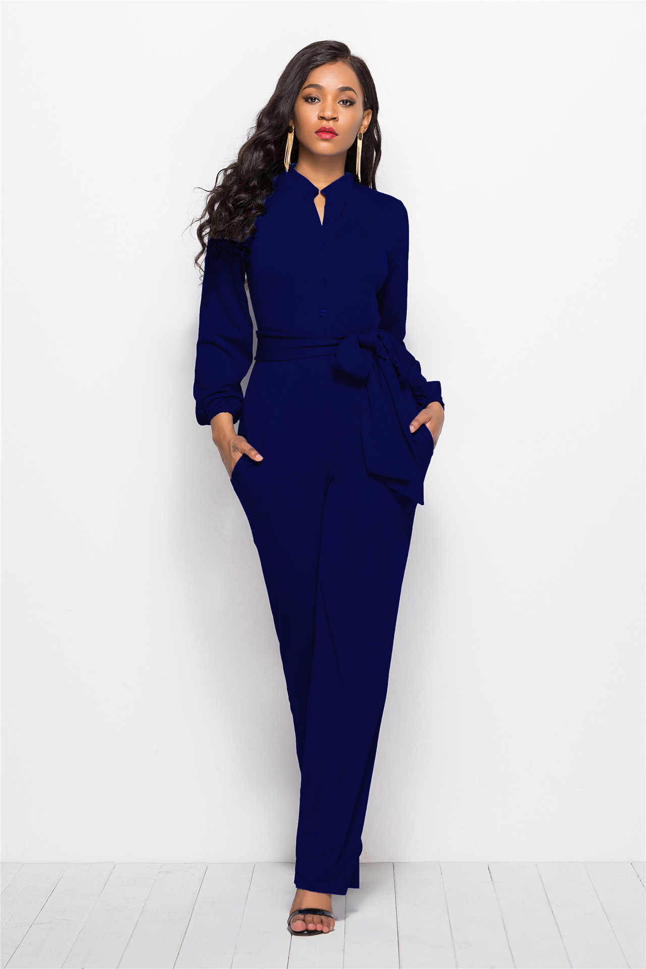 5a67778da3 ... With Sashes Ladies Summer Long Sleeve Jumpsuits for Women Fashion  Formal Jumpsuit Elegant Sexy Wide Leg ...