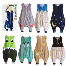 Детский пижамный комплект; одежда для сна с рисунками животных; детский спальный мешок без рукавов; фланелевые детские спальные мешки с милыми рисунками для малышей