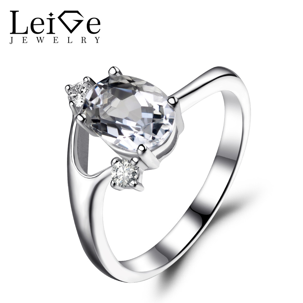 Leige Jewelry Oval Cut White Topaz Ring Sterling Silver 925 Wedding Engagement Rings for Women Gemstone Fine Jewelry leige jewelry oval shaped smoky quartz ring 925 sterling silver wedding engagement halo rings for women oval gemstone jewelry
