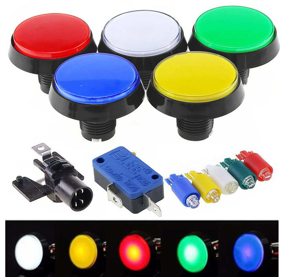 5 Colors LED Light Lamp DC12V 60MM Big Round Arcade Video Game Player Push Button Switch free ship(China)