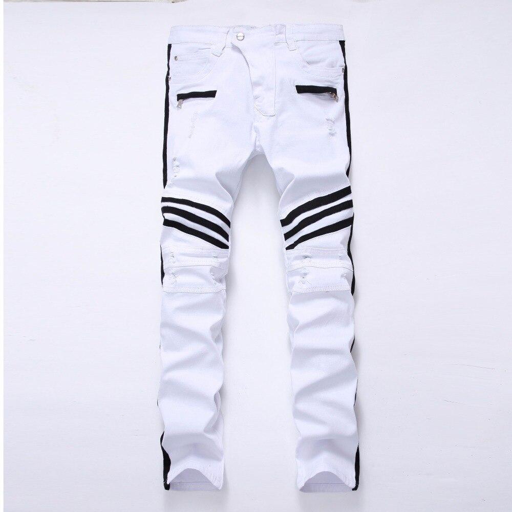 NEW Men Biker Stripe Jeans Knee White Motorcycle Hip Hop Rap Classic Autumn Locomotive Slim Loose Jeans For Men Denim Pants man
