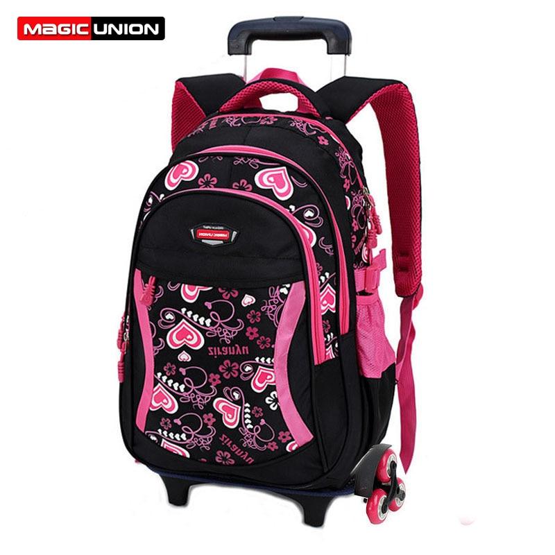 MAGIC UNION Triple-wheel Trolley Backpack For Children Fashion Heart-shaped Pattern School Bag Detachable Backpack For Girls