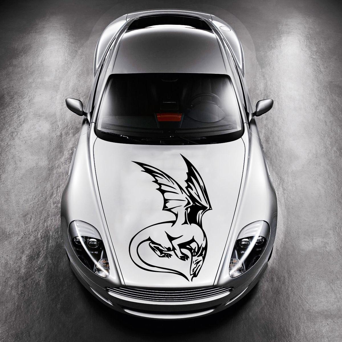 Car visor sticker designs - Car Hood Vinyl Sticker Decals Graphics Design Art Dragon Animal Tattoo Sv4870 China Mainland