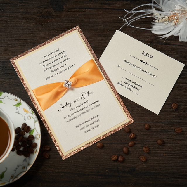 Vintage Wedding Invitations With RSVP Cards Gold Custom Birthday Engagement Baby Shower Marriage Party Greeting YW5001