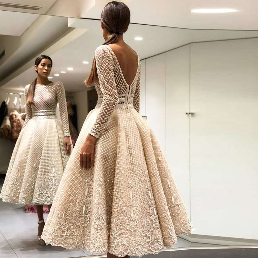 Scoop Long Sleeve Tea Length Lace Puffy Prom Dresses Champagne Lace See Through Evening Dress with