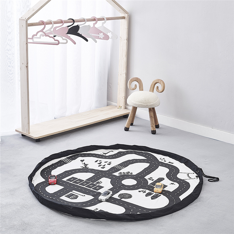 Diameter 140cm Children Round Highway Play Game Mat Multi-function Portable Kids Toy Storage Bags Plus Size Baby Crawling Carpet
