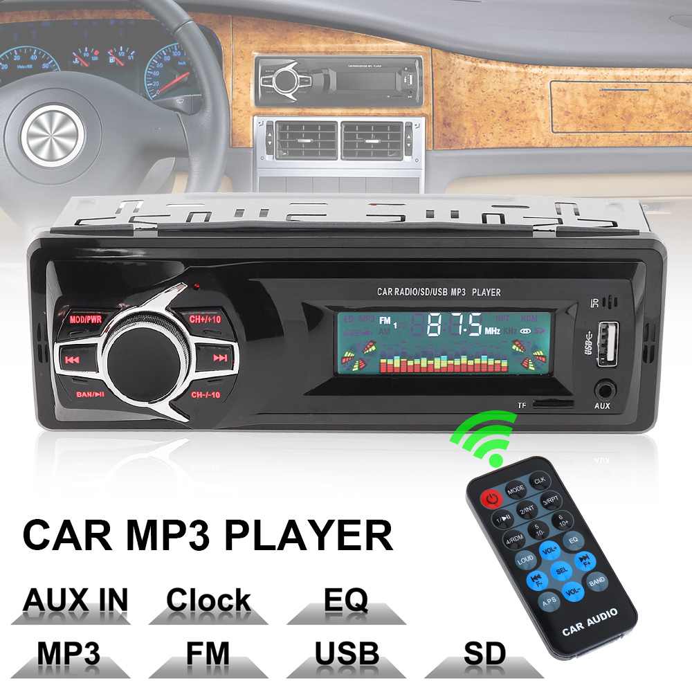 12V LCD Display In-Dash Auto Car Radio MP3 Player Vehicle Stereo Audio Aux Input Receiver Support TF FM USB SD + Remote Control 12v 1 din in dash bluetooth auto car radio stereo mp3 audio player fm aux input receiver support usb sd mmc remote control