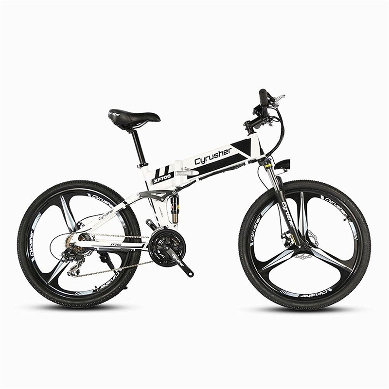 Cyrusher XF700 Folding Electric Bike Mountain Full Suspension 250W 36V 21 Speeds Smart Ebike for Outdoor Commuting Travling Bike