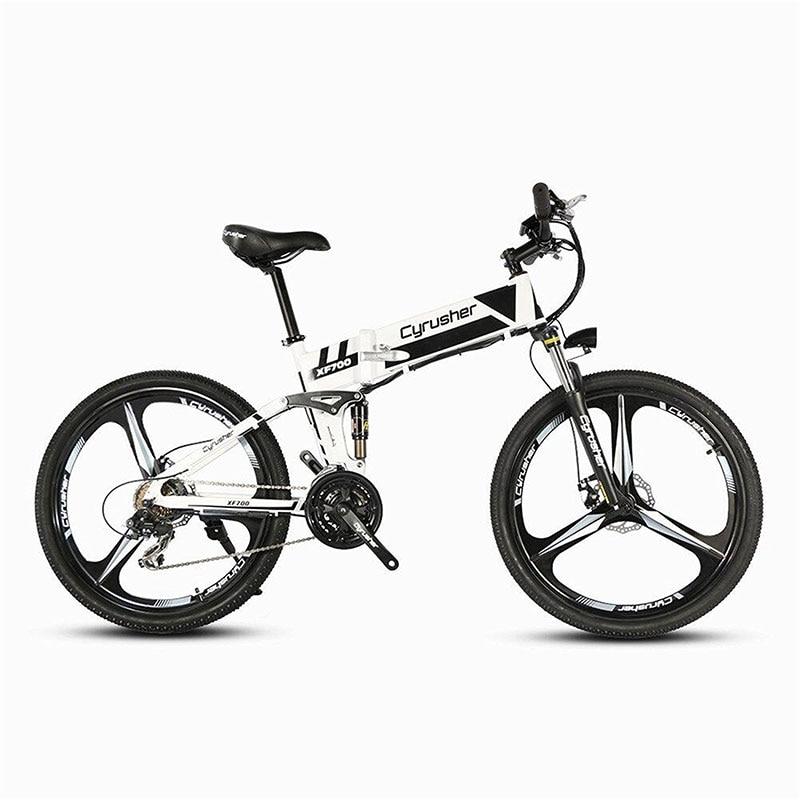Cyrusher XF700 Folding Electric Bike Mountain Full Suspension 250W 36V 21 Speeds Smart Ebike for Outdoor Commuting Travling Bike