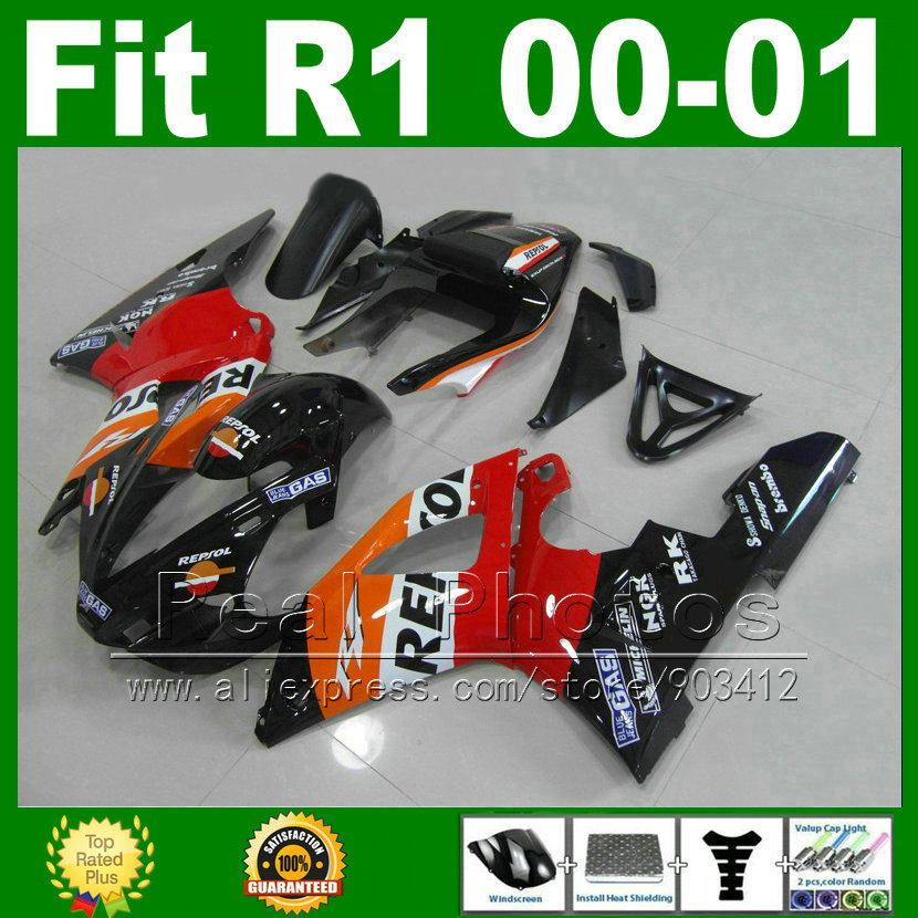 Repsol custom Fairings fits YAMAHA YZF R1 2000 2001 body kits YZFR1 00 01 bodywork fairing kit parts I8C1 custom designed repsol fairings for kawasaki ninja300 2013 with free shipping