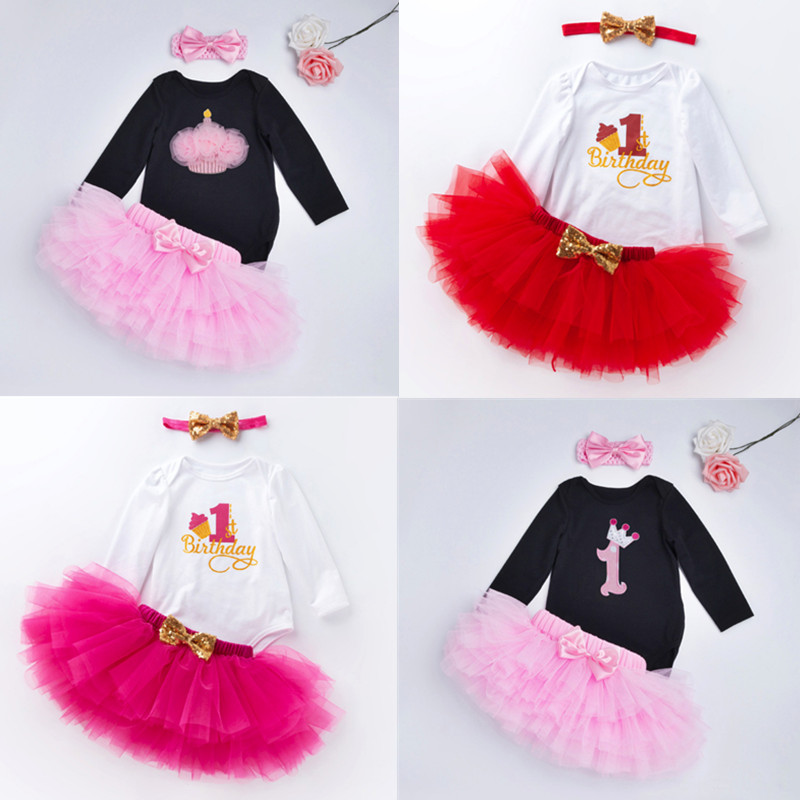 New Baby Girls Clothes Sets 1st Birthday Party Dresses For Newborn Toddler Kids Baptism Long Sleeve Bosysuits Tutu Outfits Gifts