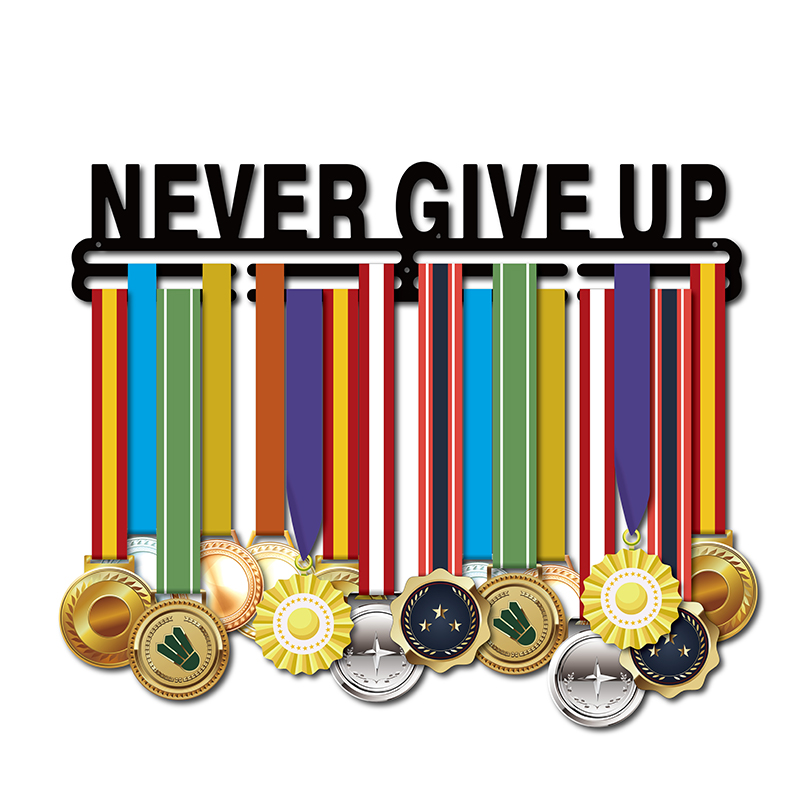 NEVER GIVE UP medal holder Sport medal hanger Inspirational medal display rack for 32 medals
